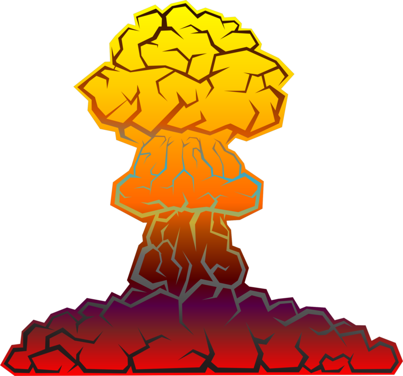 Nuclear drawing bomb exploding. Warfare weapon explosion free