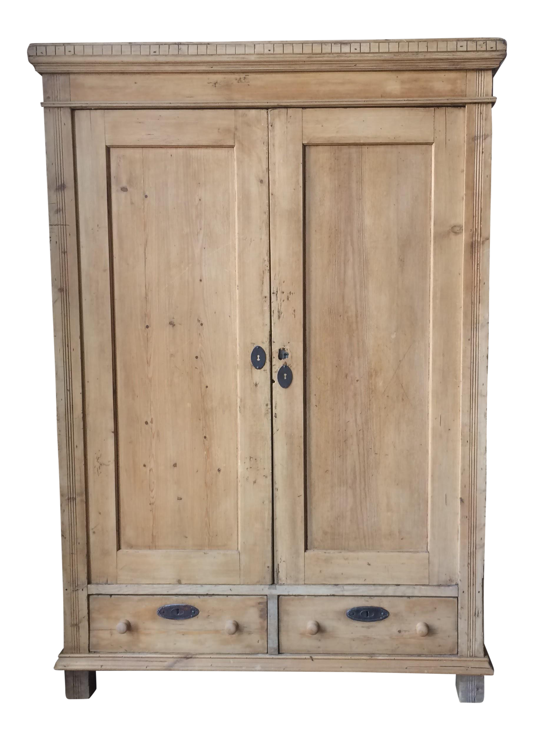 Wardrobe drawing armoire. Primitive large pine clothing