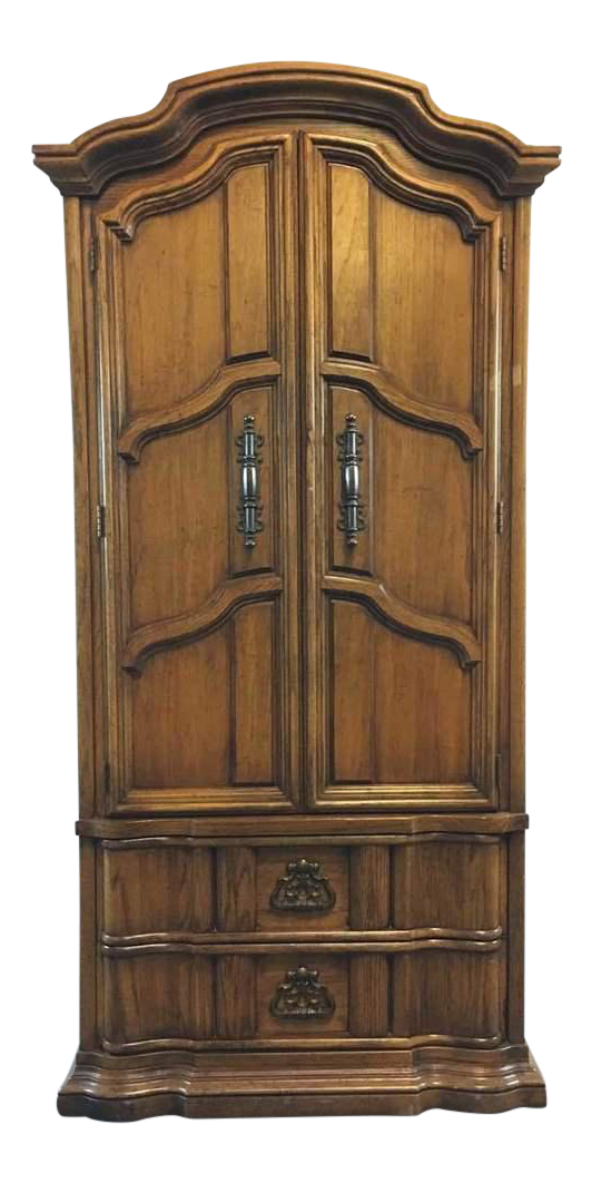 Wardrobe drawing armoire. Burlington house furniture carved