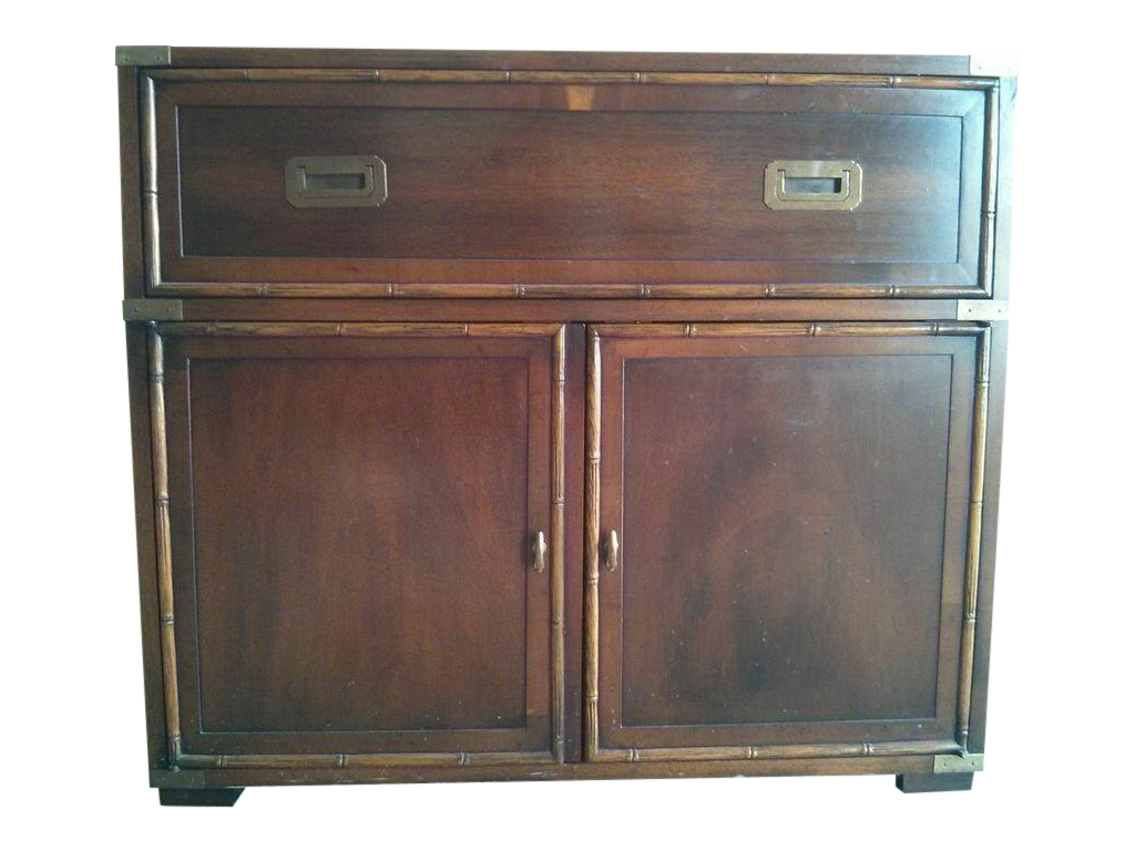 Wardrobe drawing armoire. Hekman campaign style cabinet