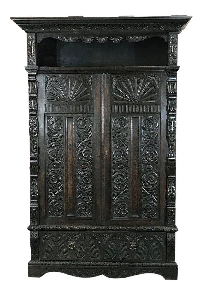 Wardrobe drawing armoire. Luxury th century english