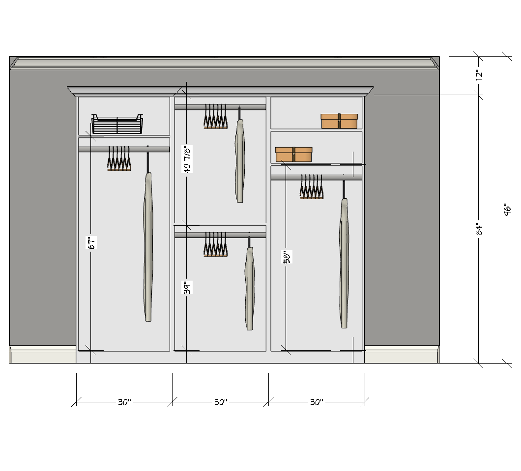 Wardrobe drawing elevation. All about double hanging
