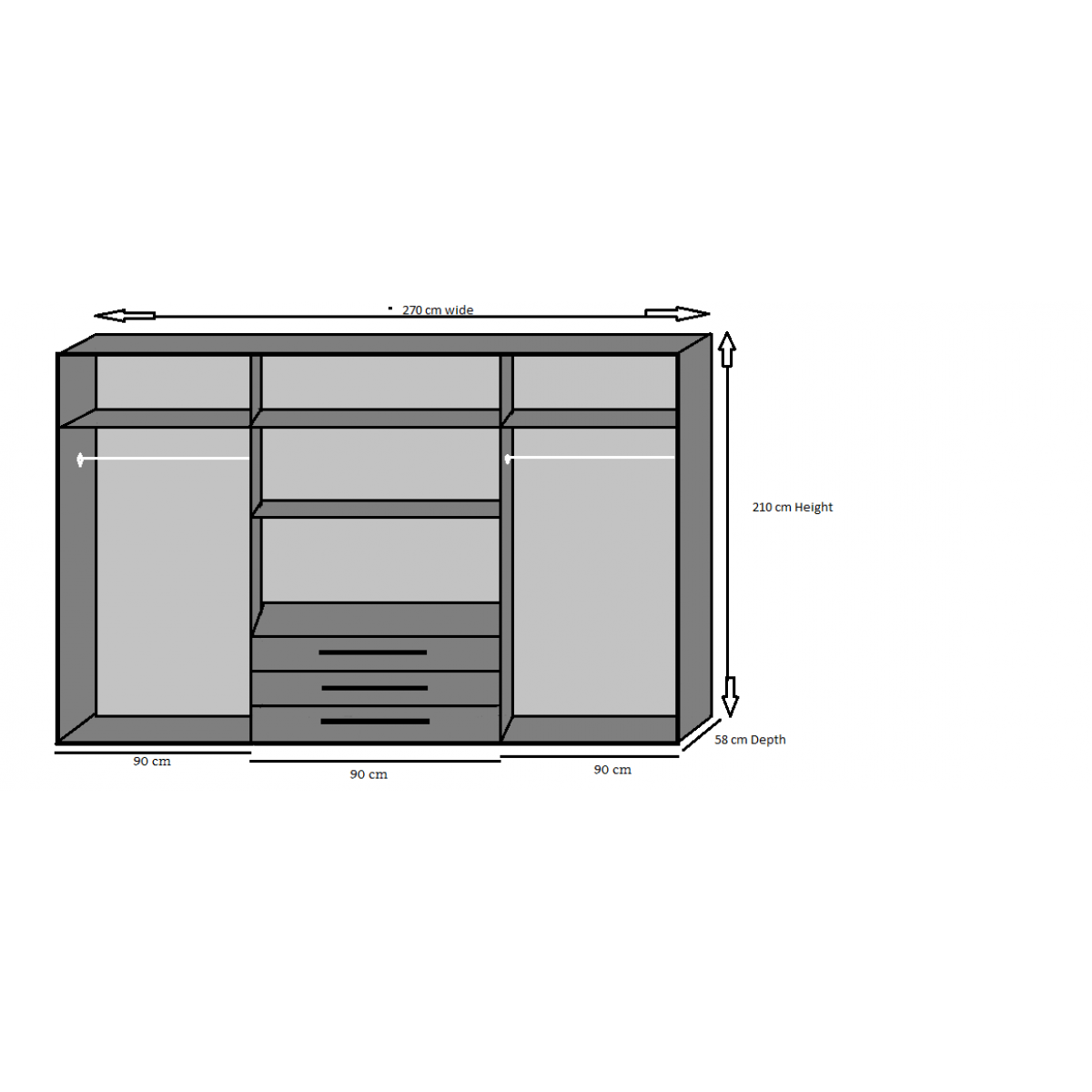 Wardrobe drawing full height. Yvonne door drawer mirrored
