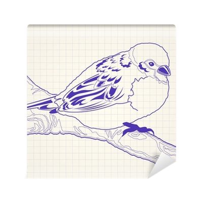 Wardrobe drawing hand drawn. Sparrow bird on a