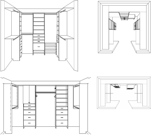 Wardrobe drawing l shaped. Introduction to closet design