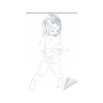 Wardrobe drawing pencil. Child little girl wall