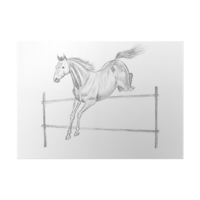 Wardrobe drawing pencil. Jumping horse hand drawn