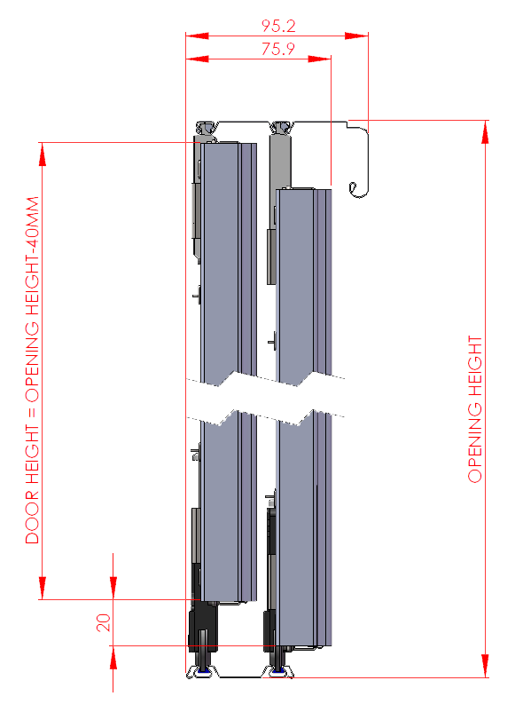 Wardrobe drawing standard. Sliding technical specifications door