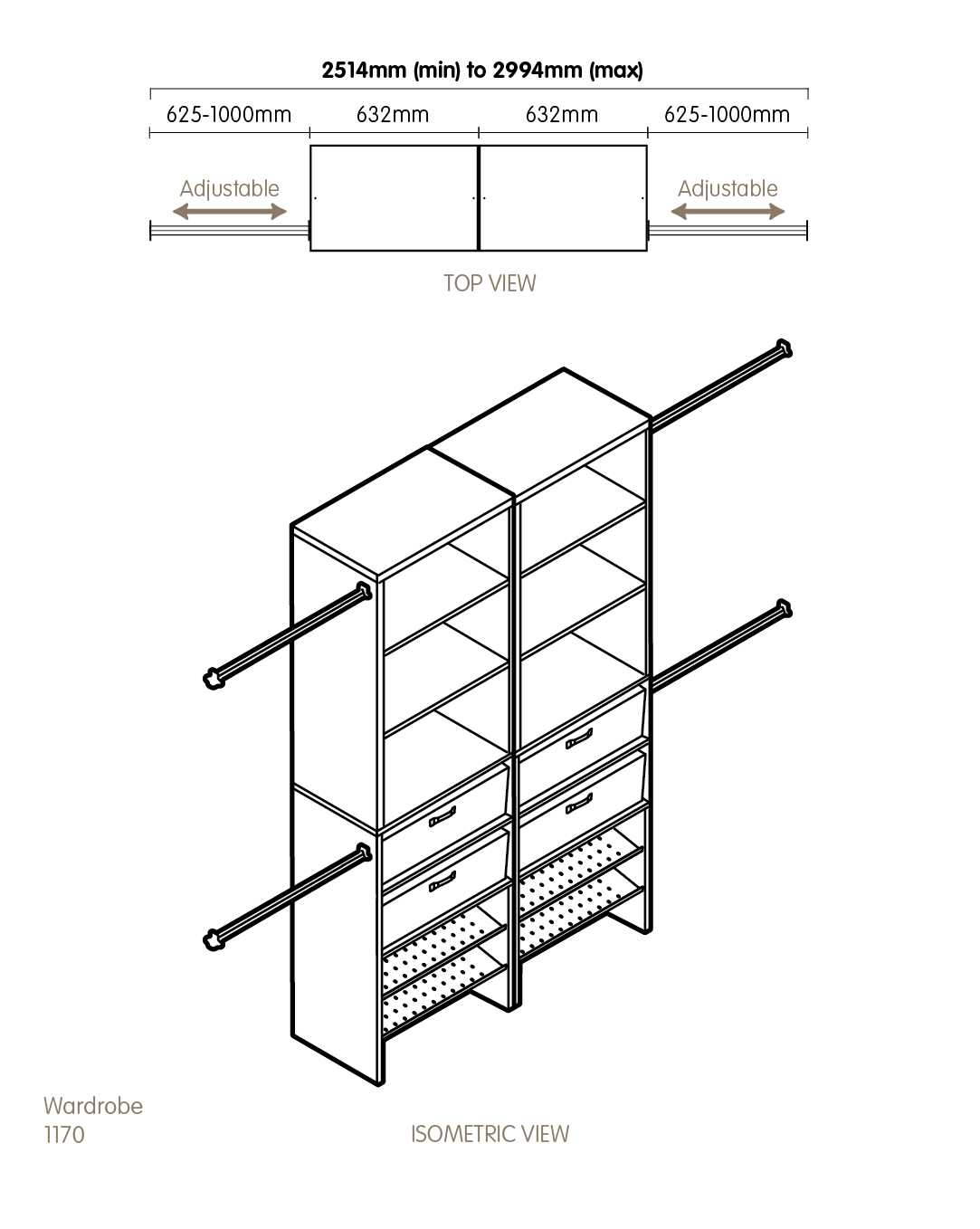 Wardrobe drawing technical. Guilford system m new
