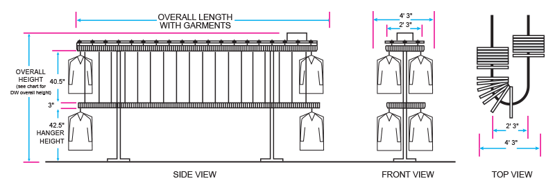 Wardrobe drawing full height. Valet luxury home garment