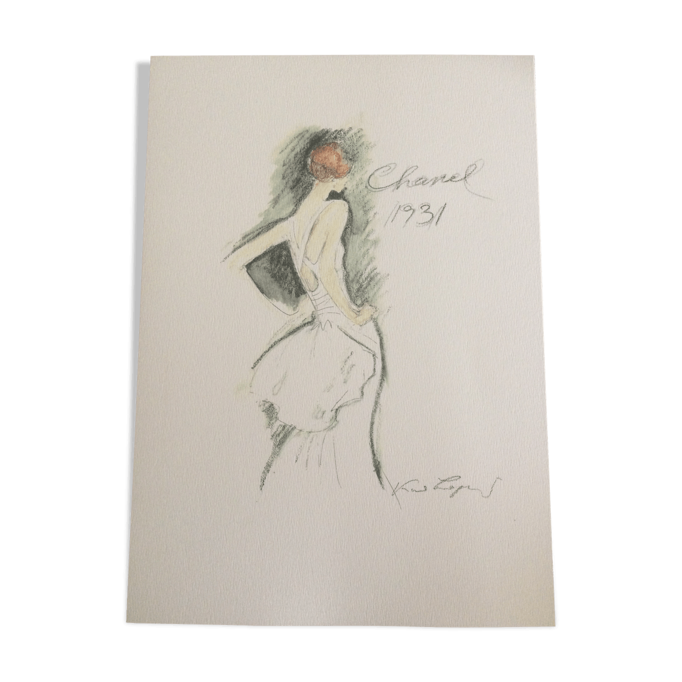 Chanel drawing flower. Sketch of fashion paper