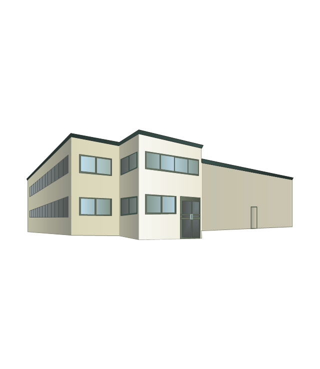 Warehouse clipart 2 storey building. Pencil and in color