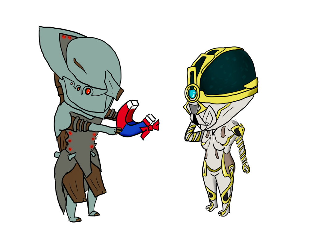 Warframe drawing volt. And mag prime chibis