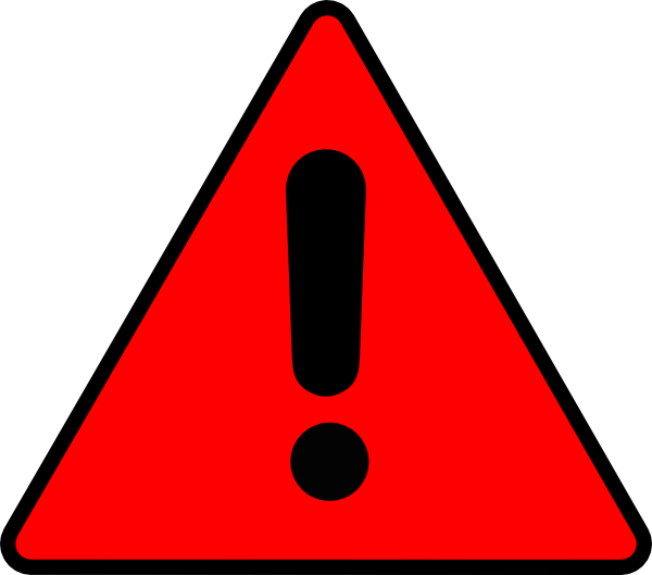 Red warning . Caution clipart svg black and white library