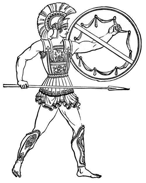 Warrior clipart soldier athenian. Drawn free hoplite mid