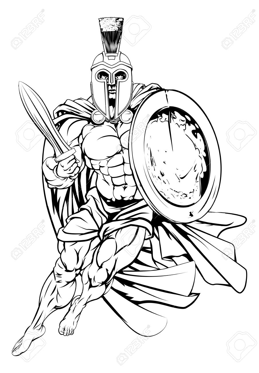 Warrior clipart soldier athenian. Greek drawing at getdrawings