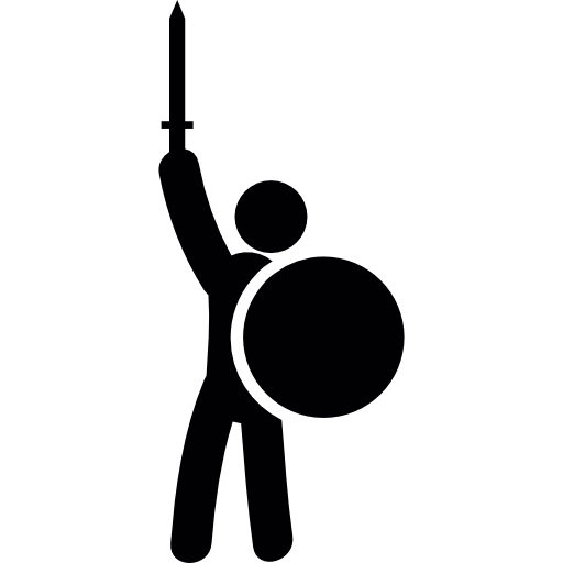 With sword and shield. Warrior clipart guerrero picture black and white