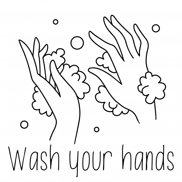 Washing Hands line drawing black and white soap foam poster template