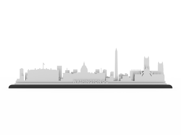 Washington dc skyline png. Stainless steel cut map