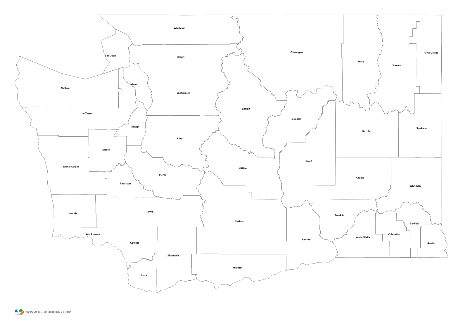 Washington state outline png. Counties maps download map