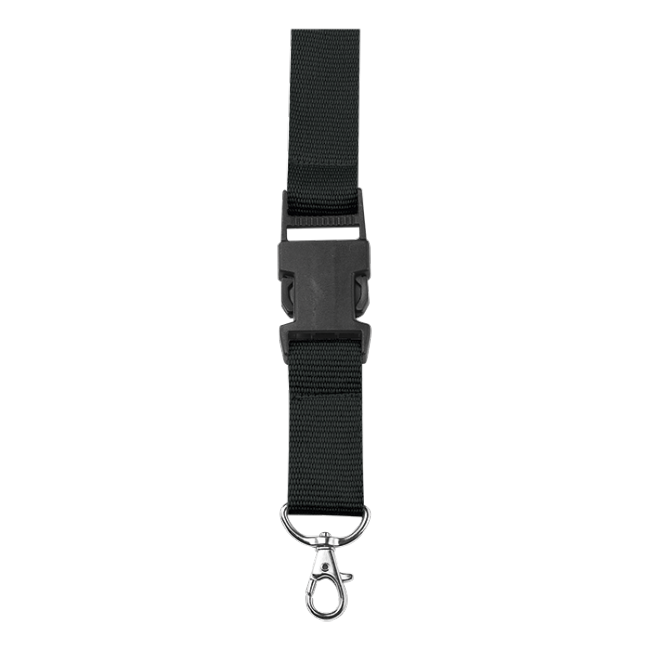 Watch clip lanyard. Bk with safety release