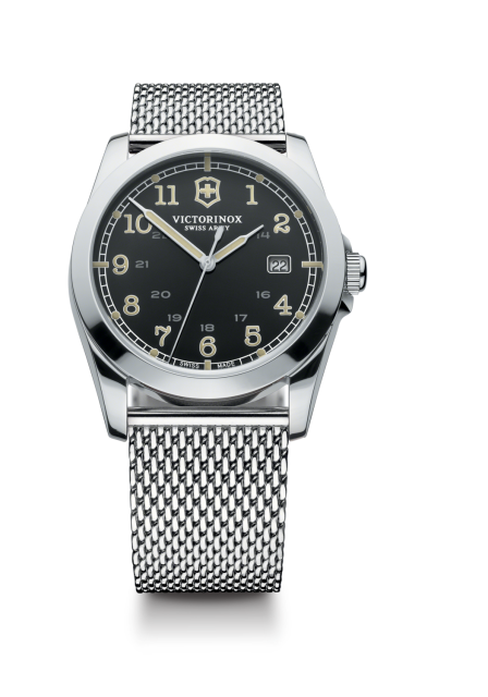 Watch clip army. Swiss mens infantry silver
