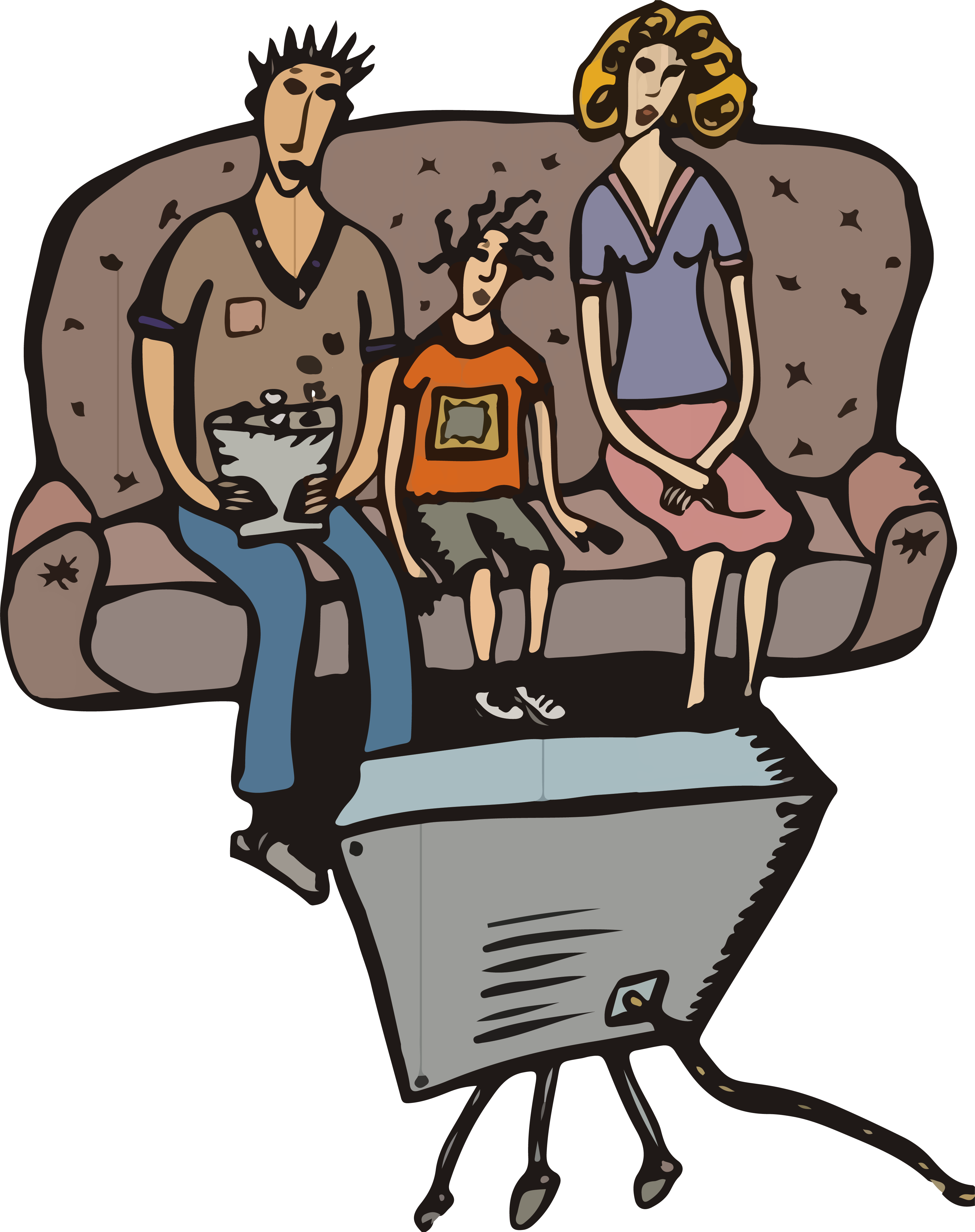Watch png cartoon. Television illustration a family