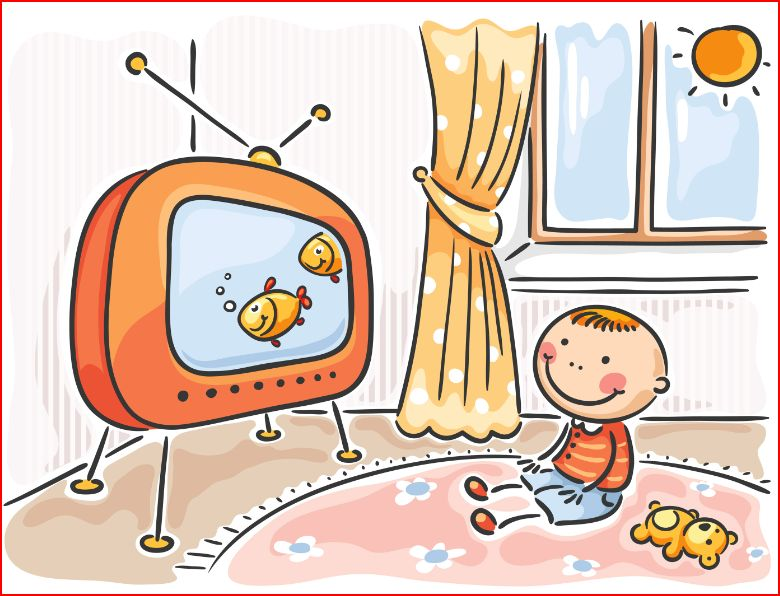 Watching clipart. Kids tv cartoon faa