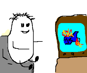 Watching clipart w be for. Egg hair flaming fish