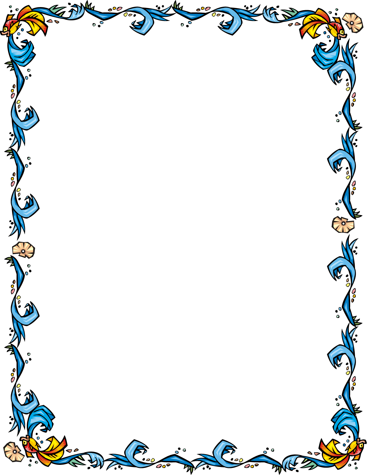 Water border png. Free fish swimming in