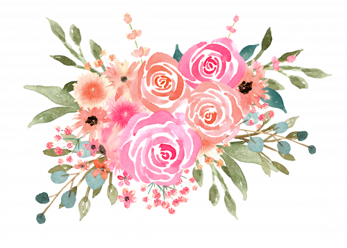 Corner transparent watercolor floral. New course florals for