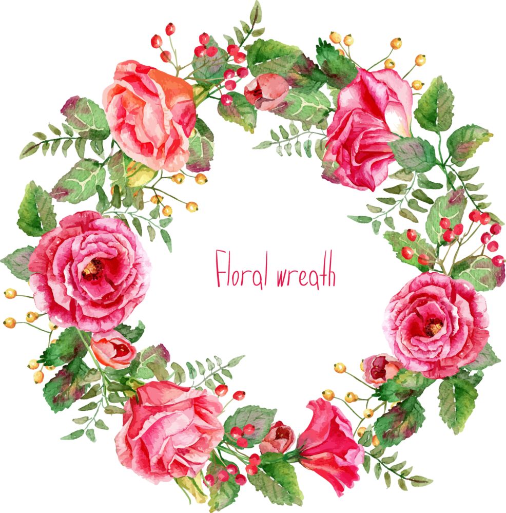 Water color floral png. Free watercolor wreath