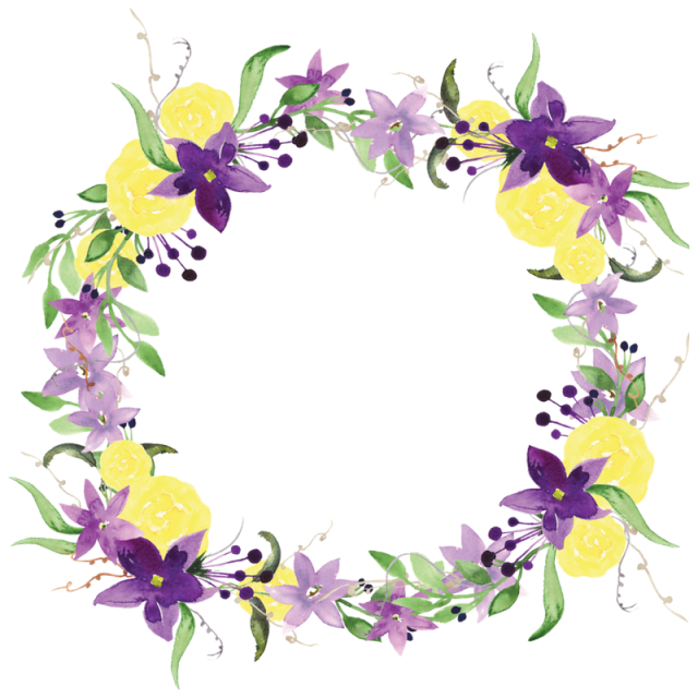 Purple flowers and psd. Watercolor wreath flower png banner free stock