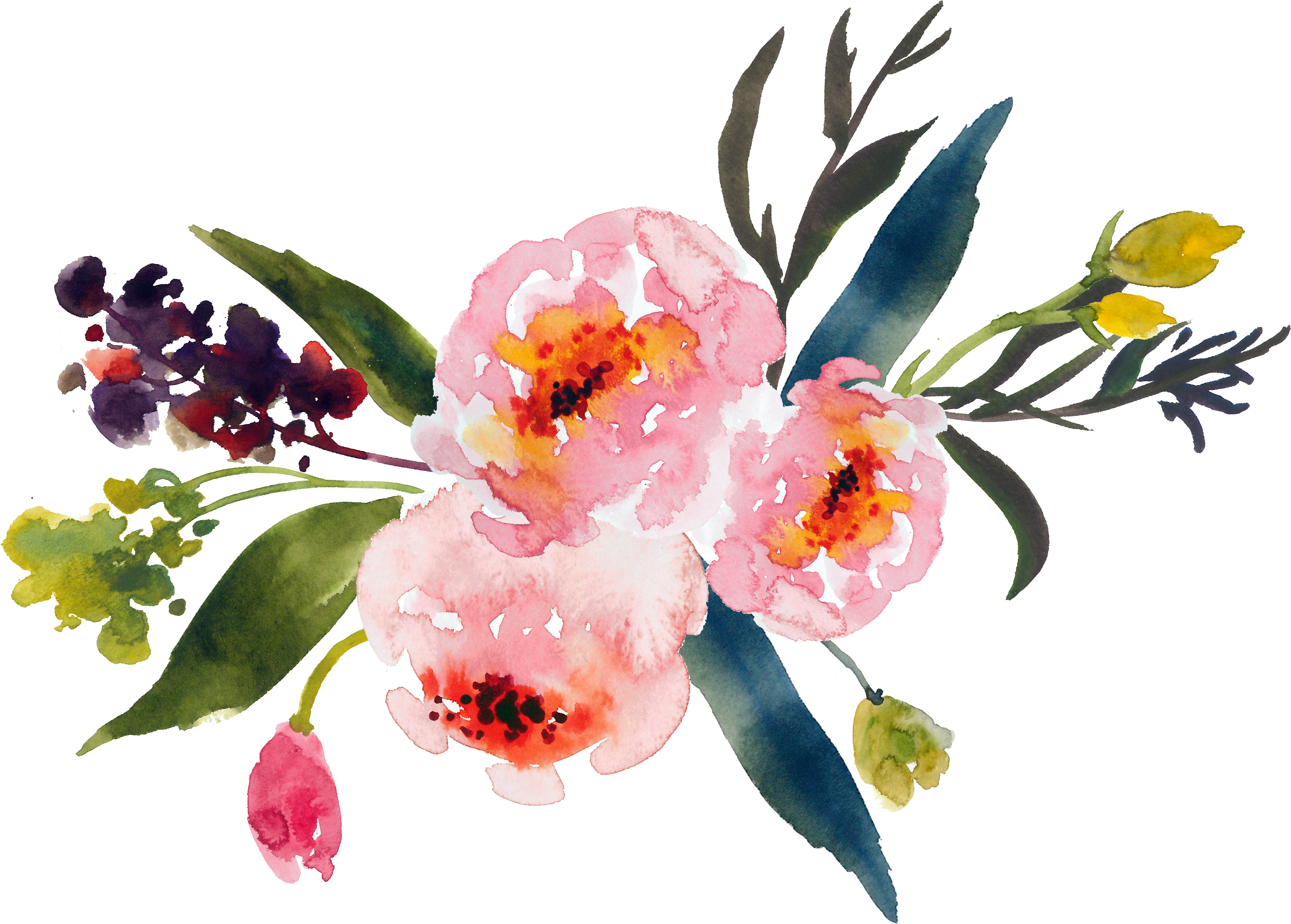 Watercolor flower png. Bouquet painting clip art