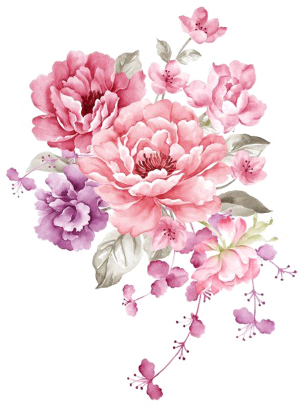 Watercolor floral bouquet png. Download ftestickers flowers pink