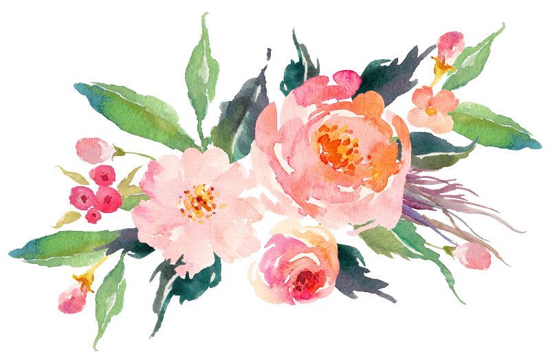 Watercolor bouquet png. Pink flowers gifts by