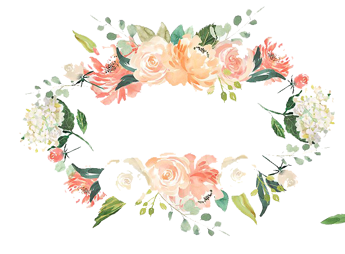 Watercolor branch png. Free wreath with flowers