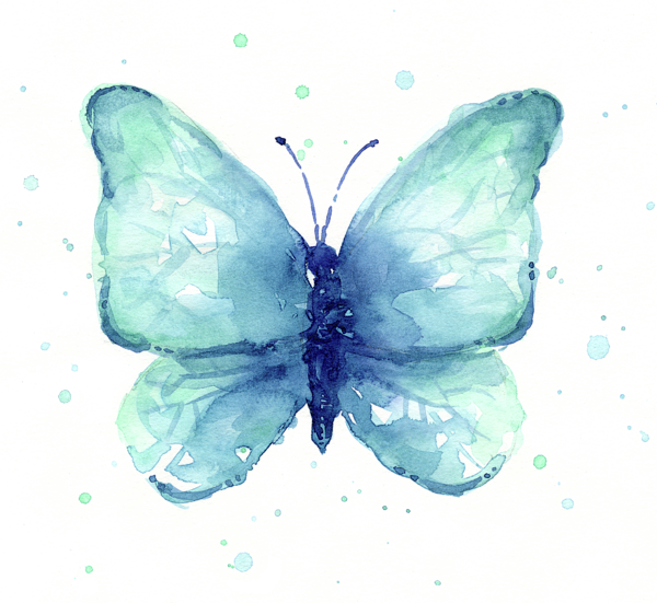 Watercolor butterfly png. Blue t shirt for