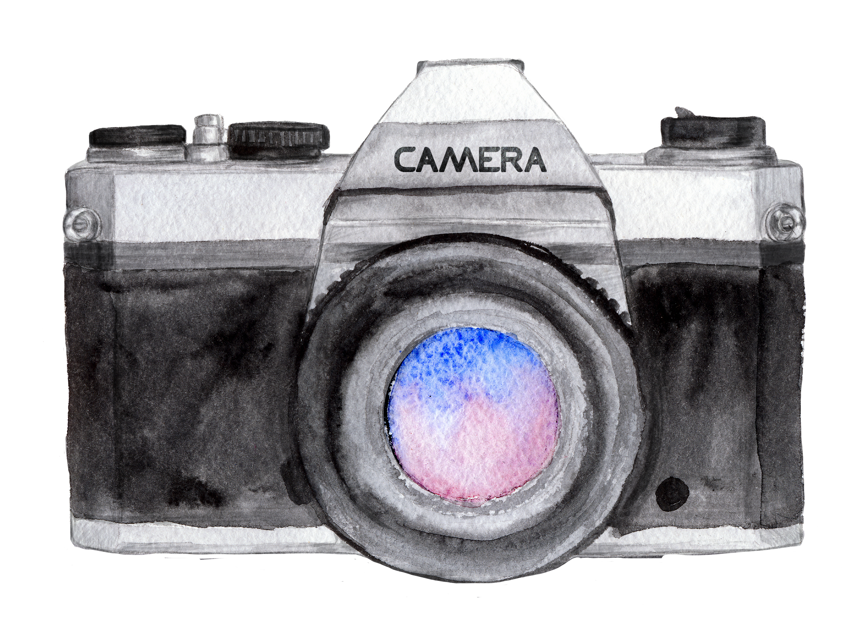 Product drawing camera. Watercolor painting photographer photography
