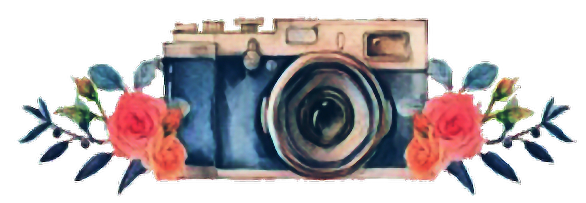 Watercolor camera png. Floral flowers pictures sticker