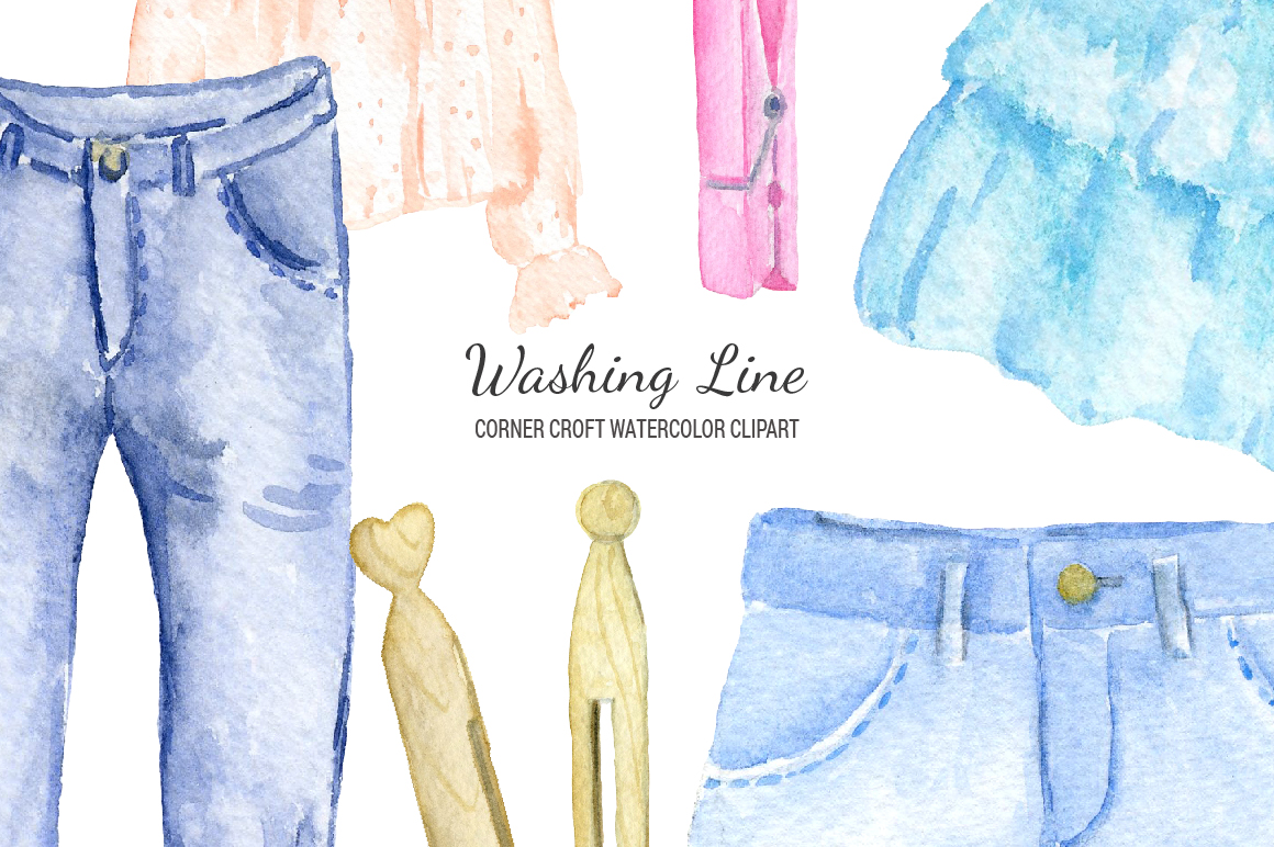 Watercolor clipart clothes. Washing line by cornercroft