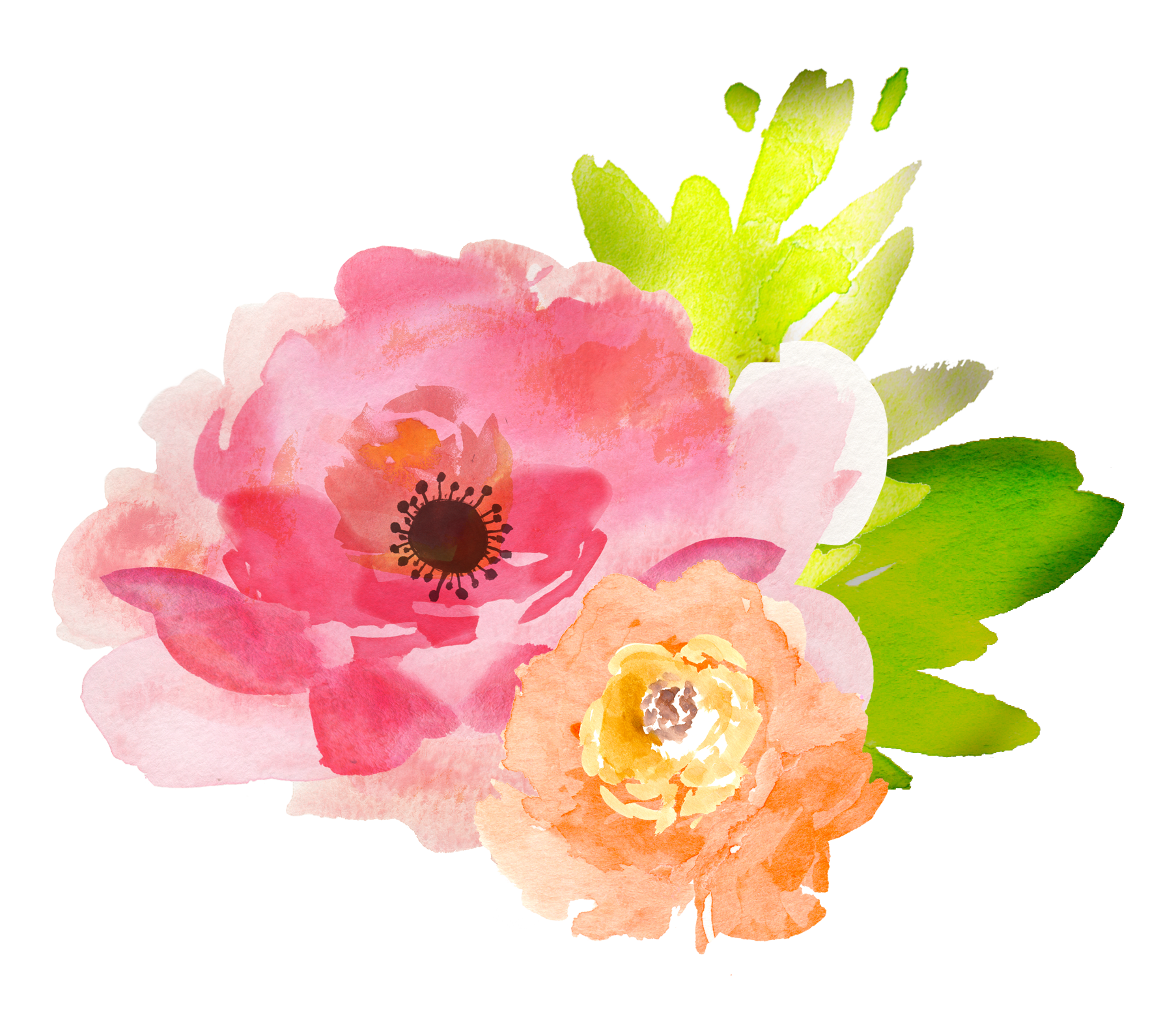 Watercolour flowers painting floral. Pink watercolor flower png clip stock