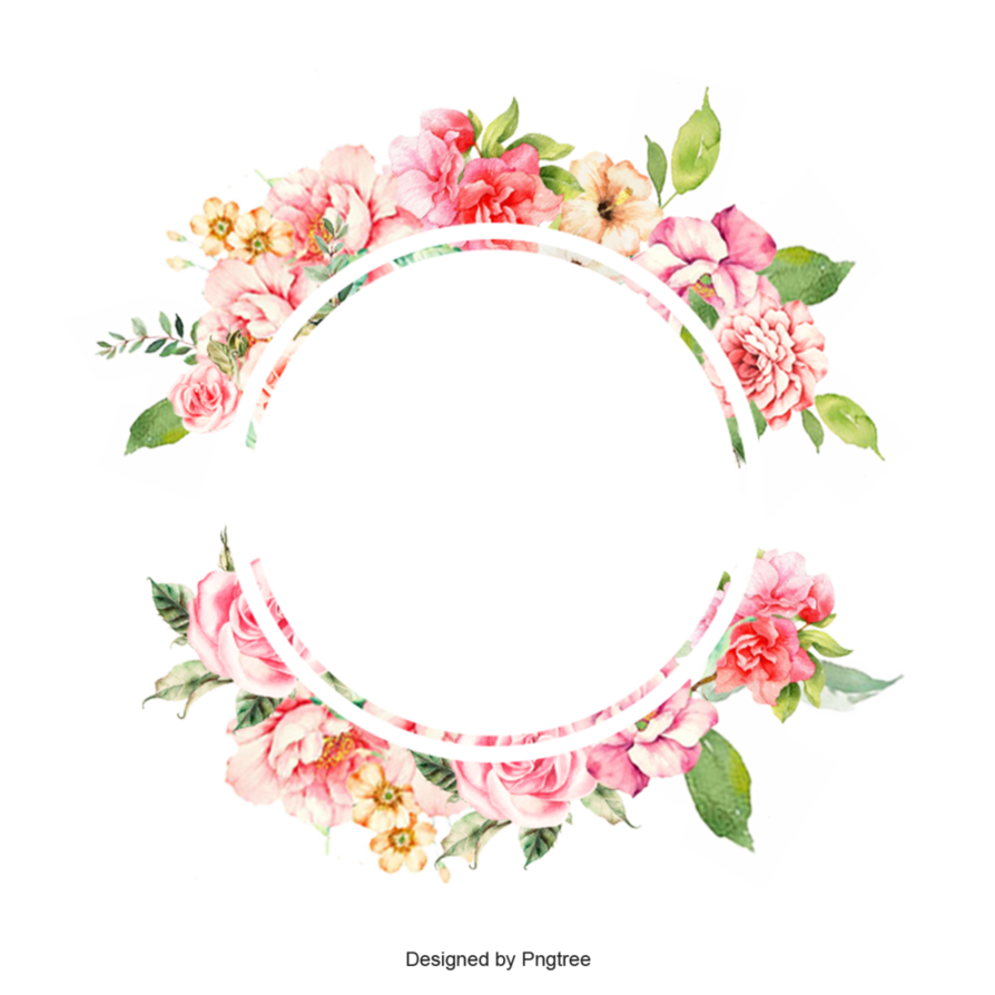 Watercolor flower border png. Frame by pngtree on