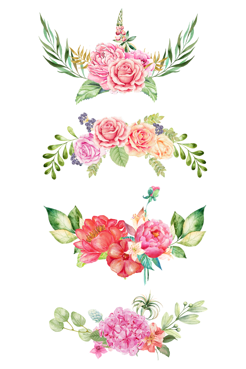 Watercolor flower bouquet png. The bottom pink flowers