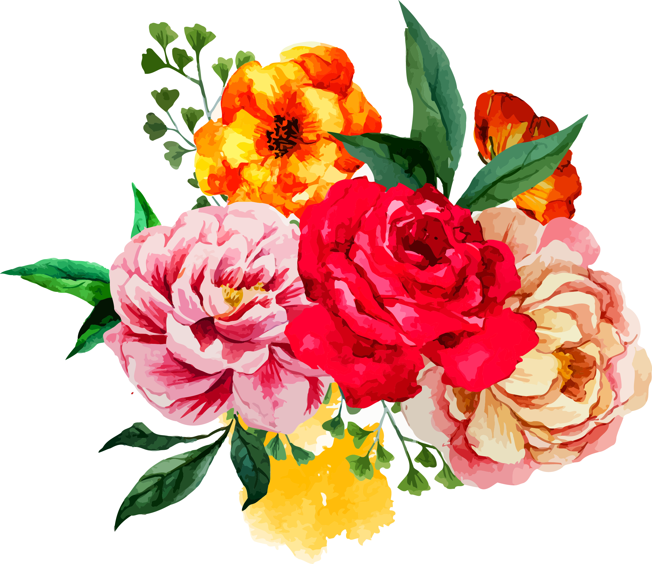 Watercolor flower bouquet png. Painting clip art peony
