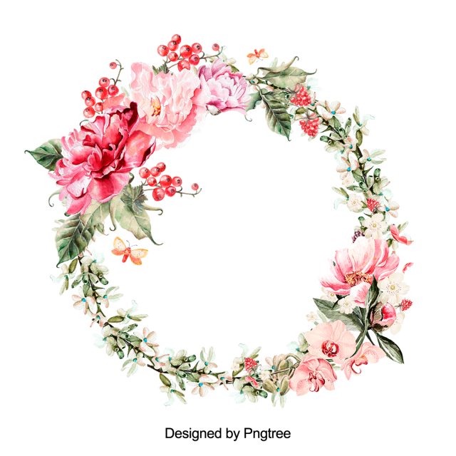 Watercolor wreath flower png. Beautiful hand paint floral