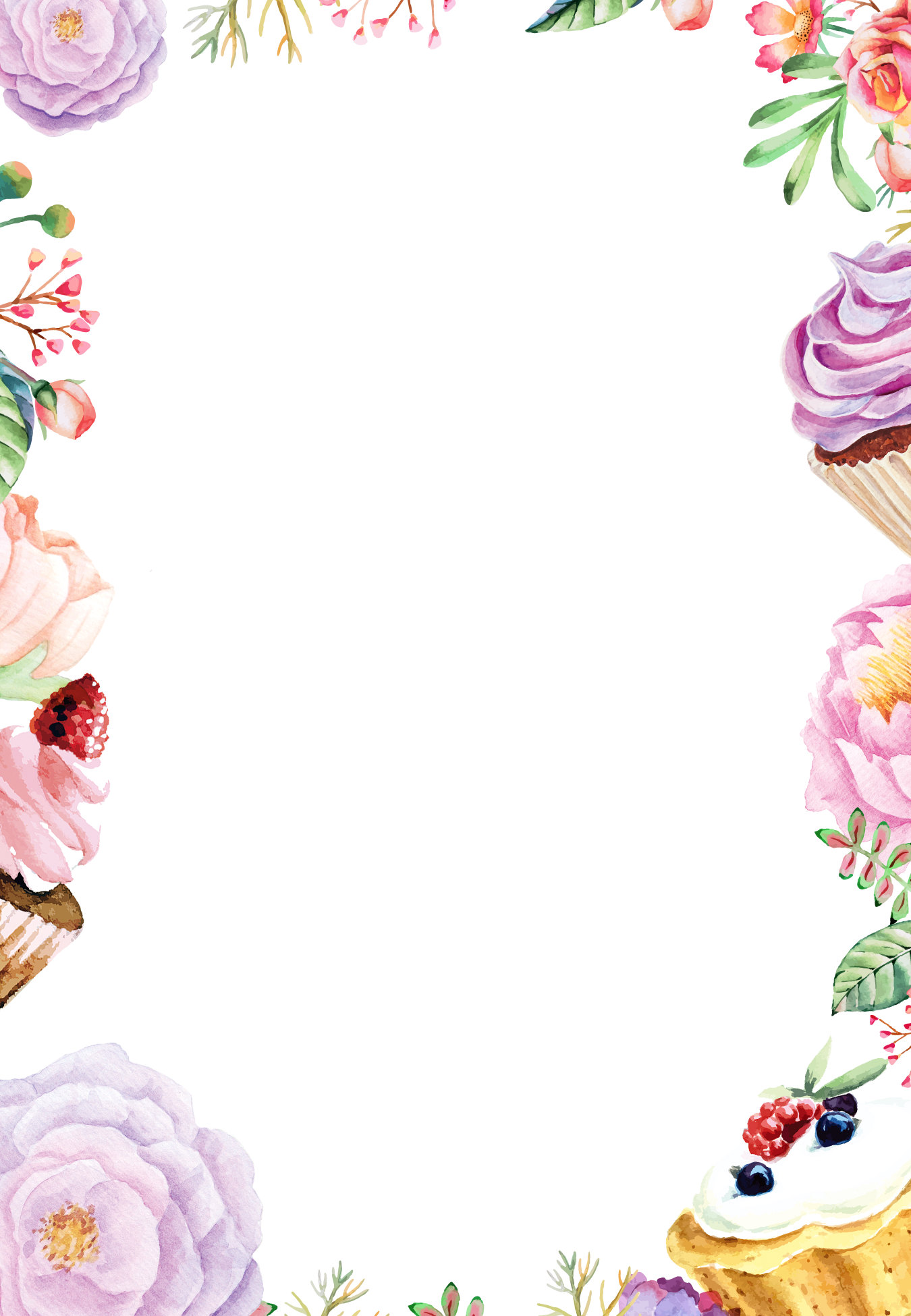 Watercolor flowers border png. Painting flower drawing background