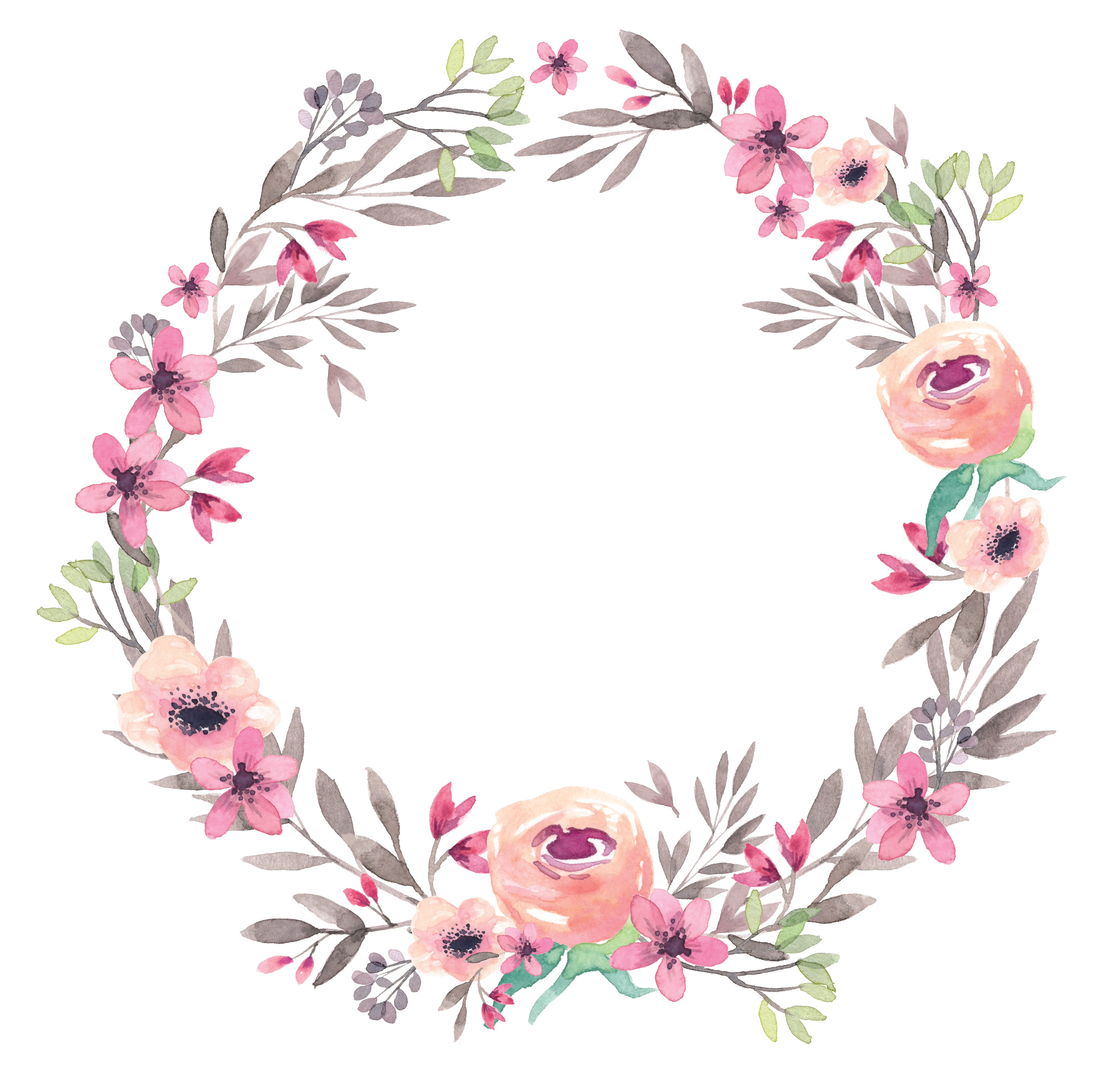 Flores organizador pinterest corinthian. Watercolor wreath flower png banner freeuse library