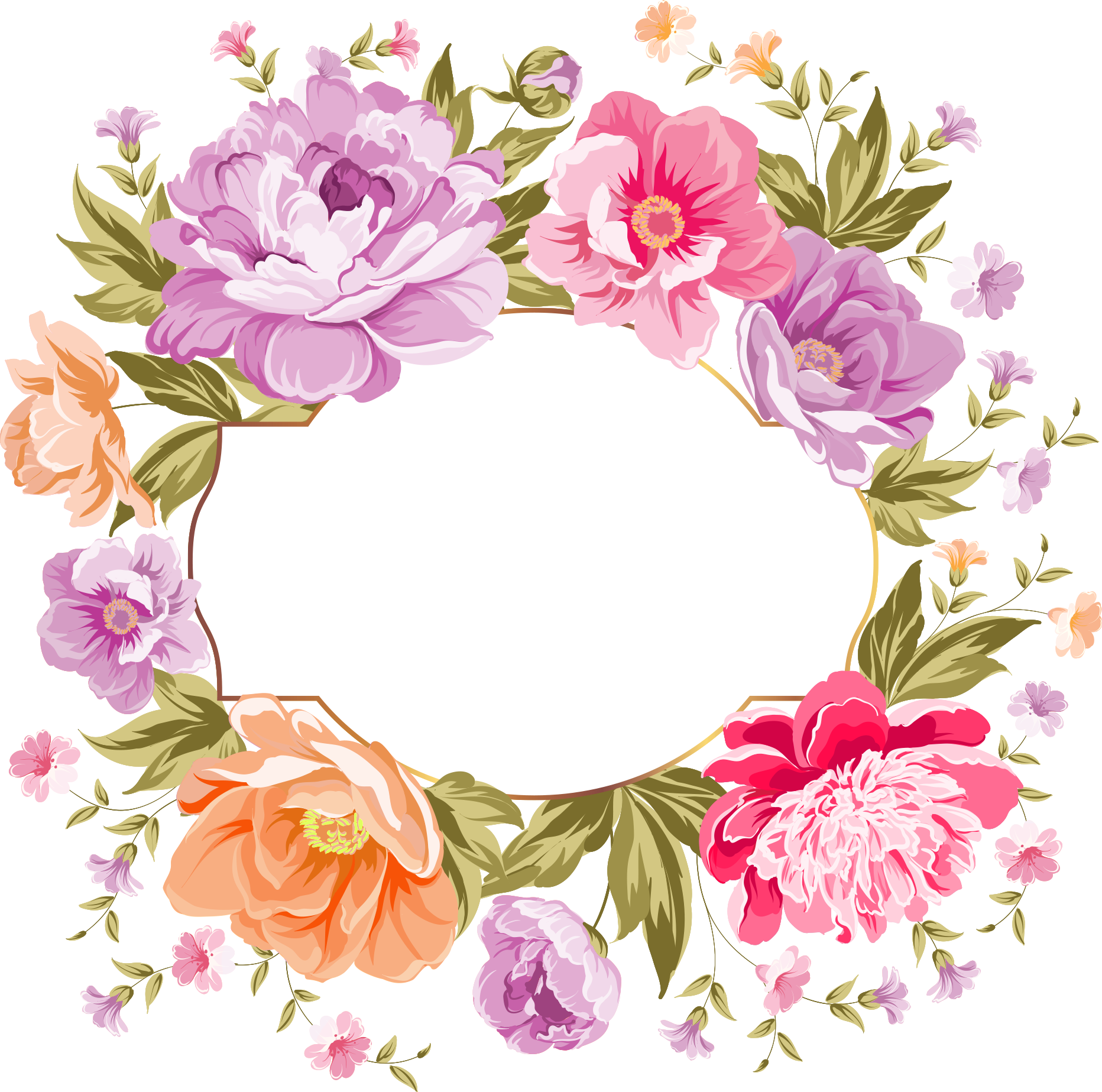 Watercolor flowers border png. Http d top net