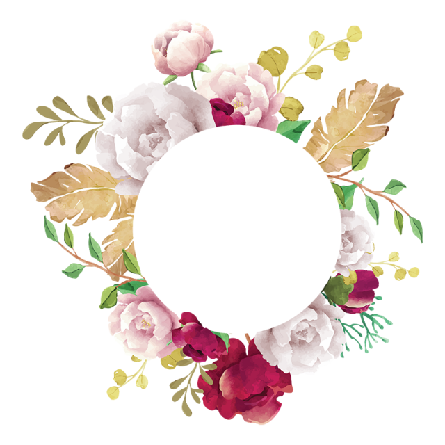Watercolor flowers borders elements ornaments png free. Flower frame white pink